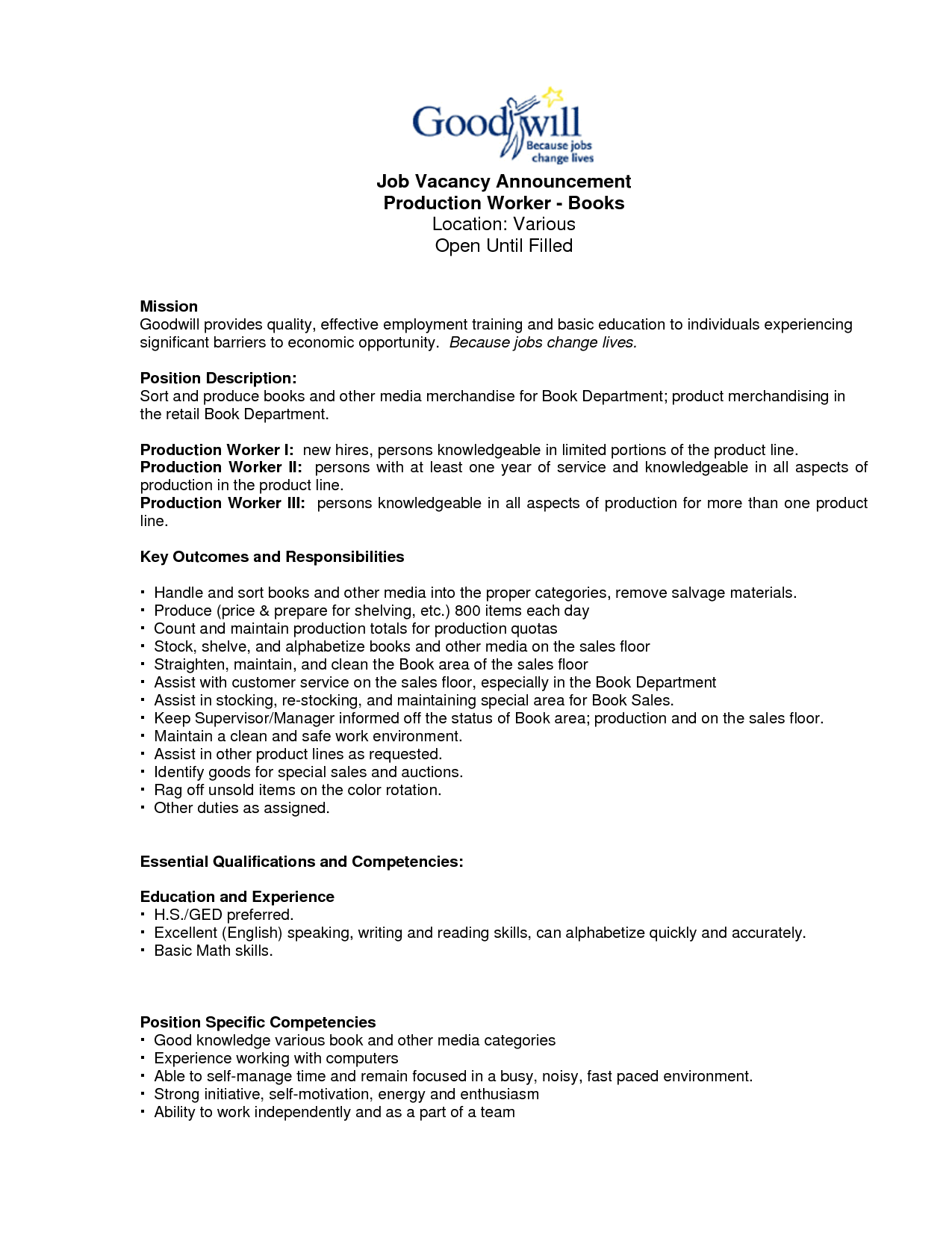 Assembly Line Resume | Production Line Worker Resume | Resume ...