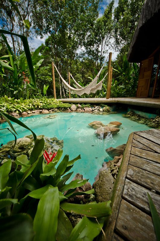Jardim tropical com lago jardim ou quintal pinterest for Koi pool villa