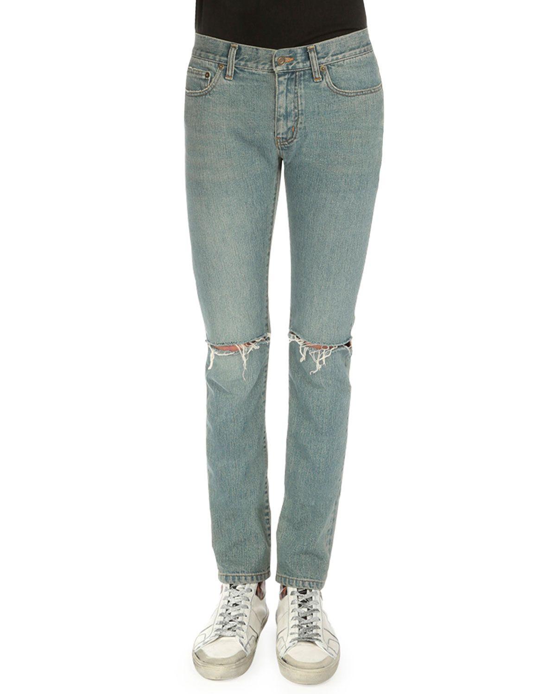 fd600f66e8 Destroyed-Knee Five-Pocket Jeans Light Blue | *Clothing > Pants ...