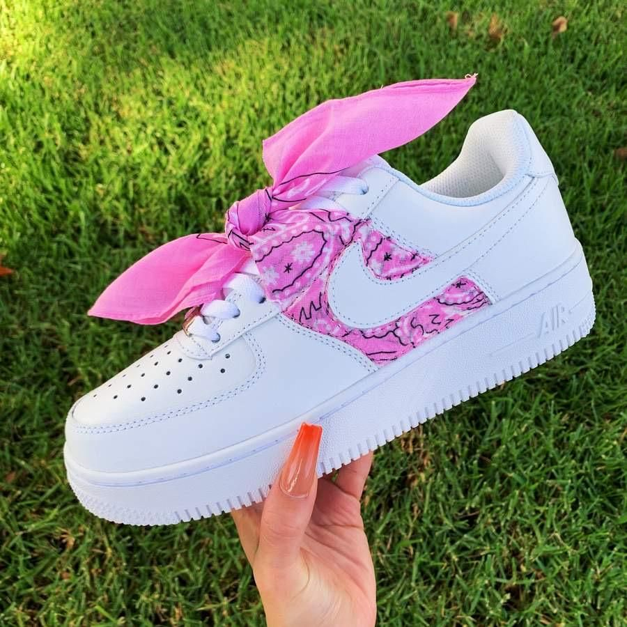 Custom Pink Bandana AF1's in 2020 Hype shoes, Nike shoes