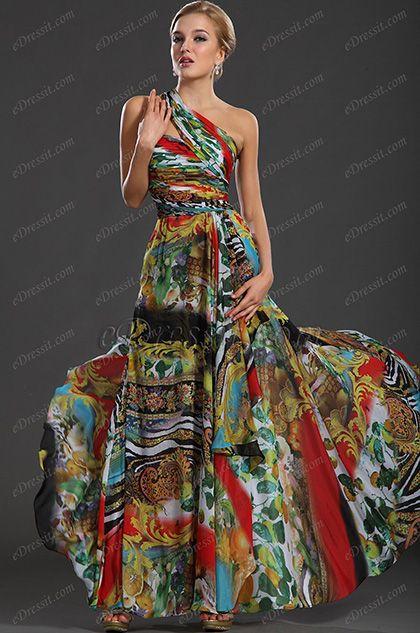 Vestido largo estampado de fiesta