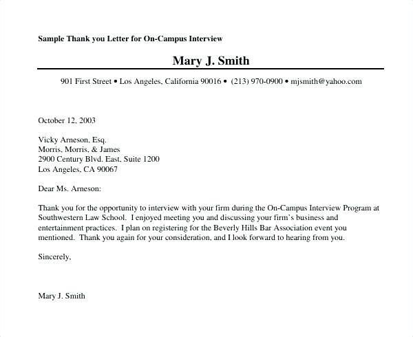 Thank You Letter After Second Interview Examples with regard to