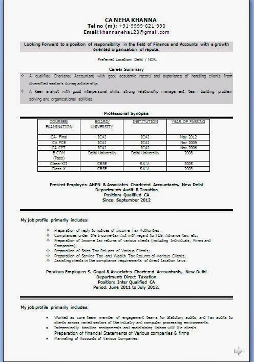 Best Resume Format 2014 Sample Template Example of Excellent