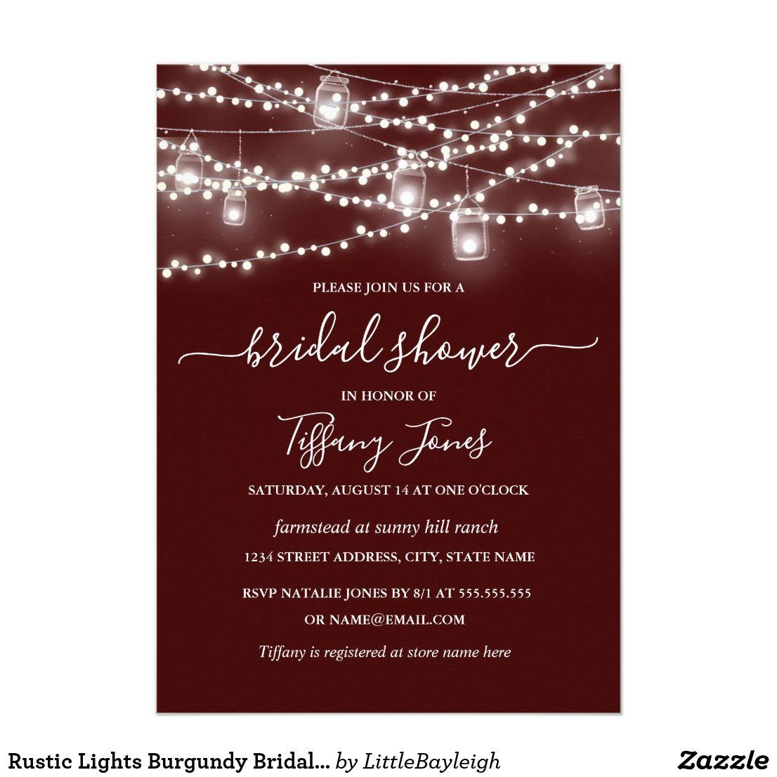 Rustic Lights Burgundy Bridal Shower Invitation | Bridal showers and ...