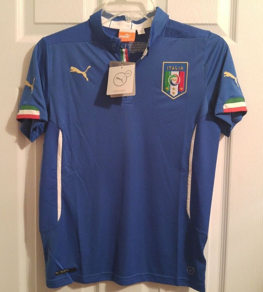 New Puma Figc Italia Italy Home Replica Soccer Jersey Youth Kids Large L 744292