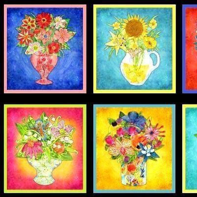 Cotton Quilt Fabric Impressions Floral Vase Pillow Hydrangea ... : hydrangea quilt fabric - Adamdwight.com