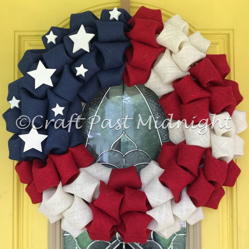 American Flag Wreath - Patriotic Decor - Independence Day - Veterans Day - Gift for Veteran - 4th of July Decor - Independence Day Decor