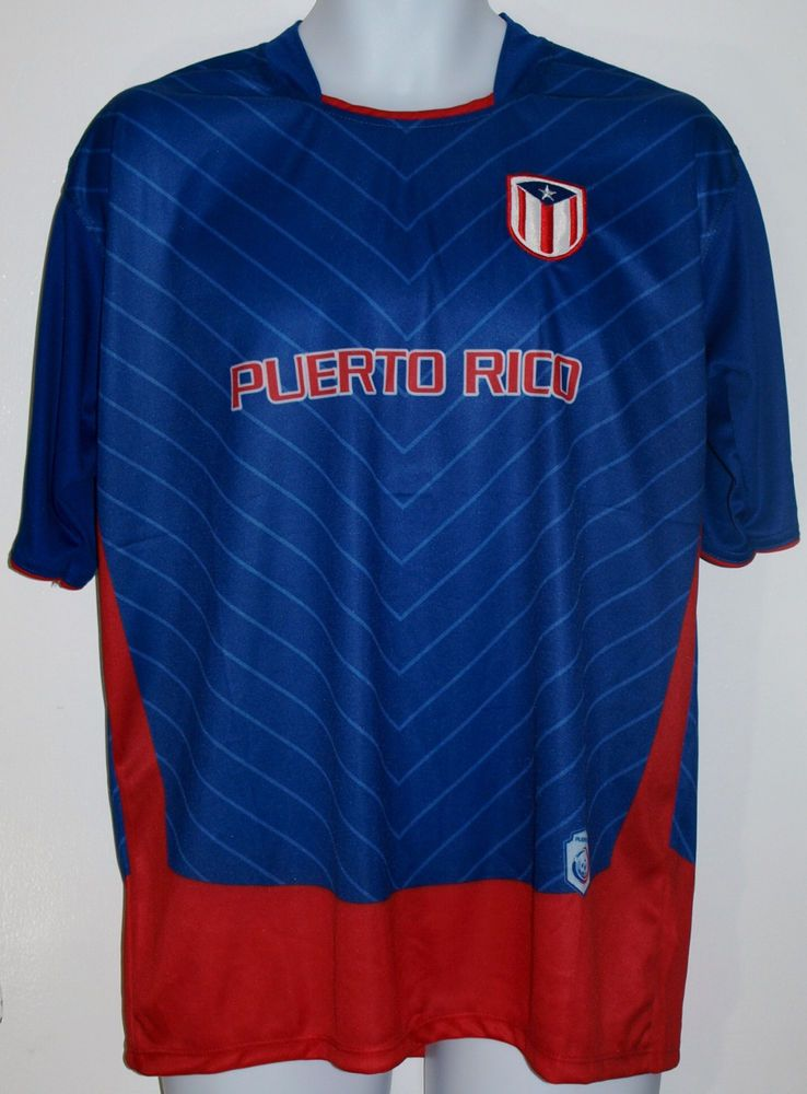 check out 5db67 92a21 PUERTO RICO SOCCER JERSEY T-SHIRT BLUE L LARGE FOOTBALL ...