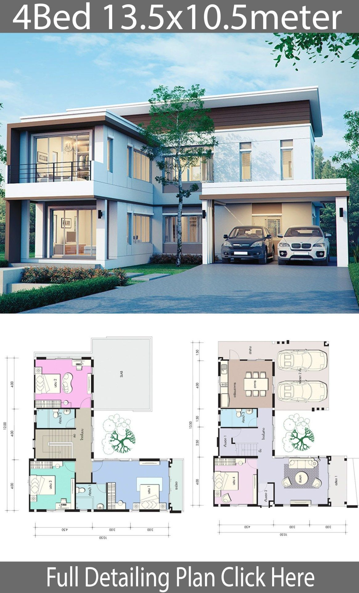 House Design Plan 13 5x10 5m With 4 Bedrooms Home Design With Plansearch 135x105m 2storeyh Smart Home Design Craftsman House Designs Country House Design