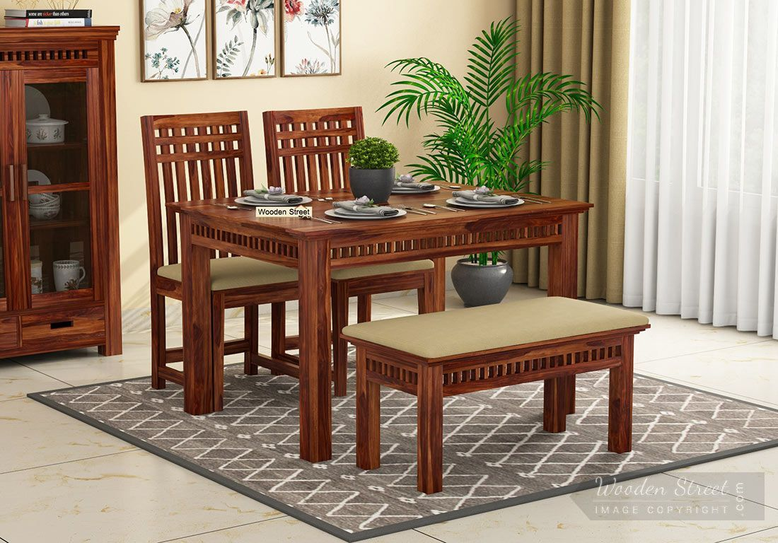 Buy Adolph Compact 4 Seater Dining Set With Bench Online In India