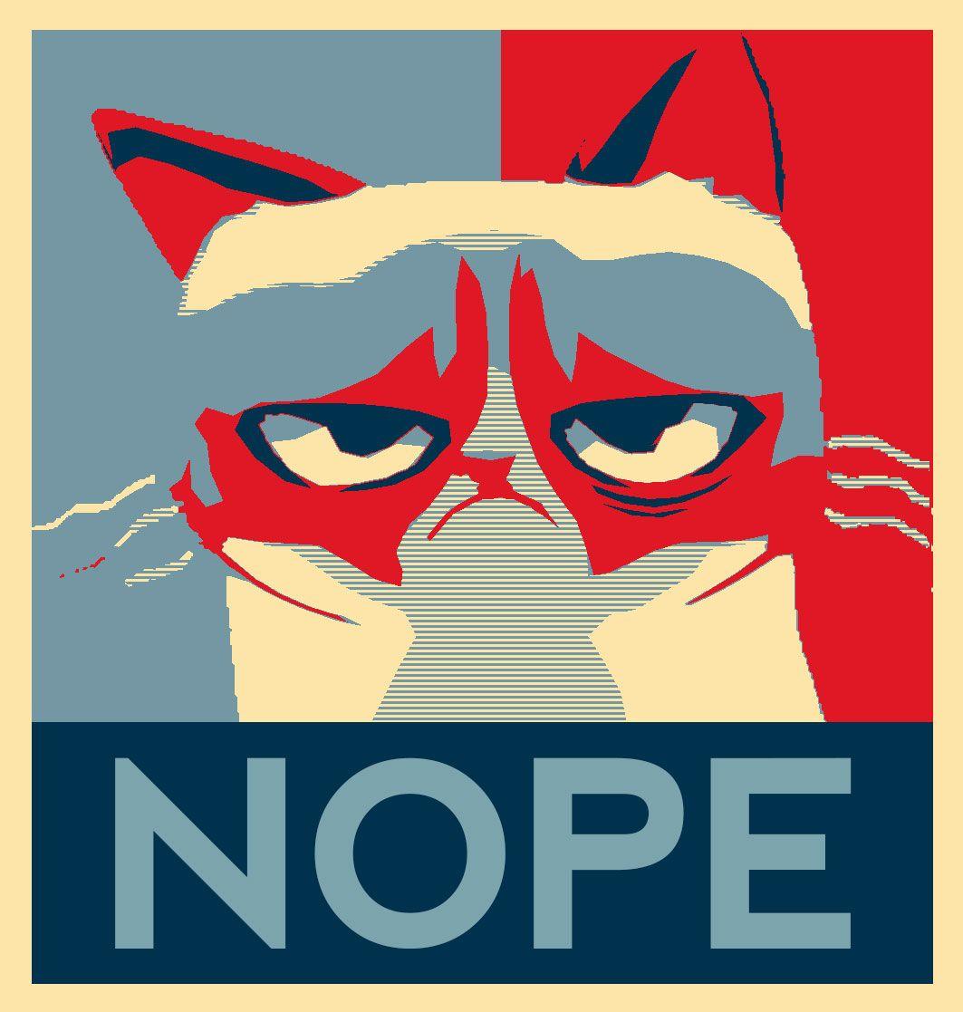 "Made a ""Hope"" poster but using Cartoon Grumpy Cat, Hope"