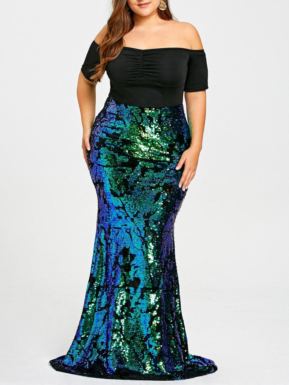 Plus size sequined mermaid prom dress pinterest sequined skirt