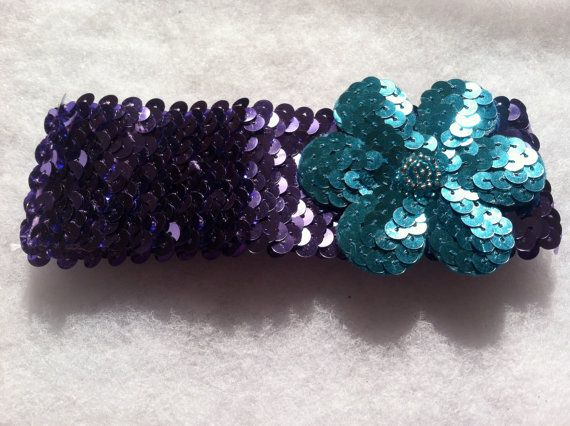 Shiny purple sequin headband with bright blue by HairFlairLady, $7.00