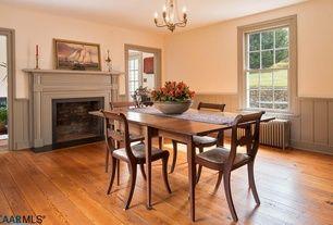 Traditional Dining Room With Bennington Wood Fireplace Mantel, Pendant  Light, Metal Fireplace, Wainscoting