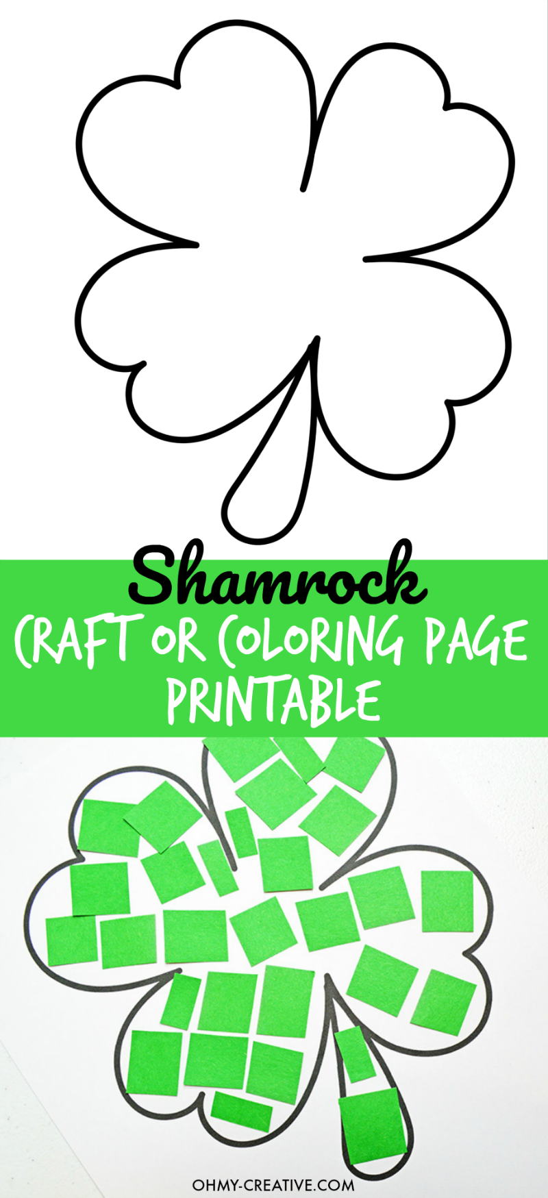 Cut And Paste Shamrock Template or Coloring Page | Pinterest ...