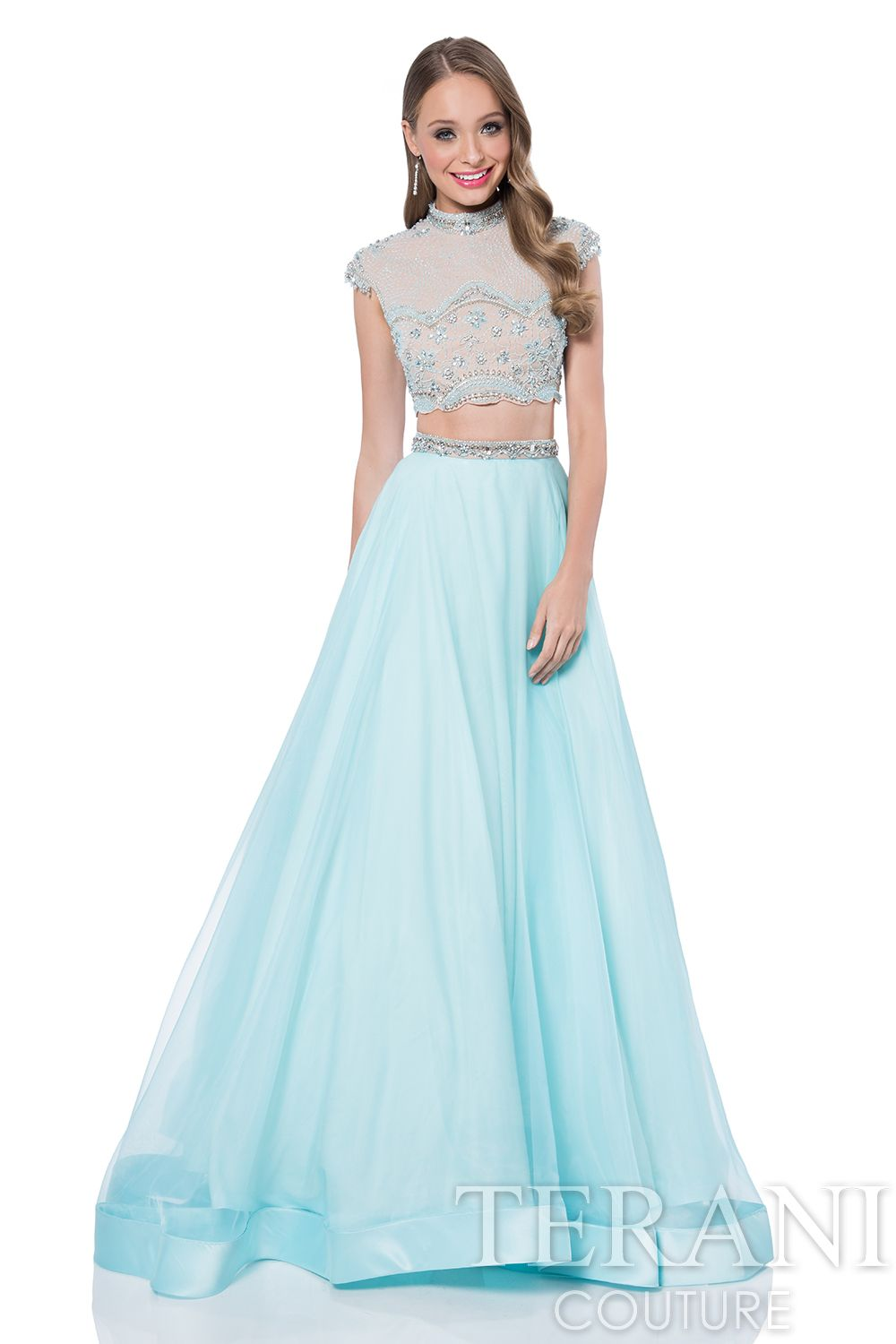 Two piece prom gown with jeweled neckline crop top encrusted with ...