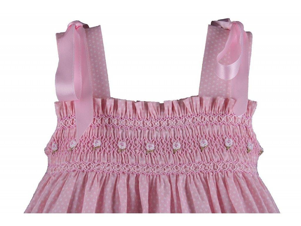 Vestido de tirantes bordado en canesú. Tela rosa a topos blancos 39 ...