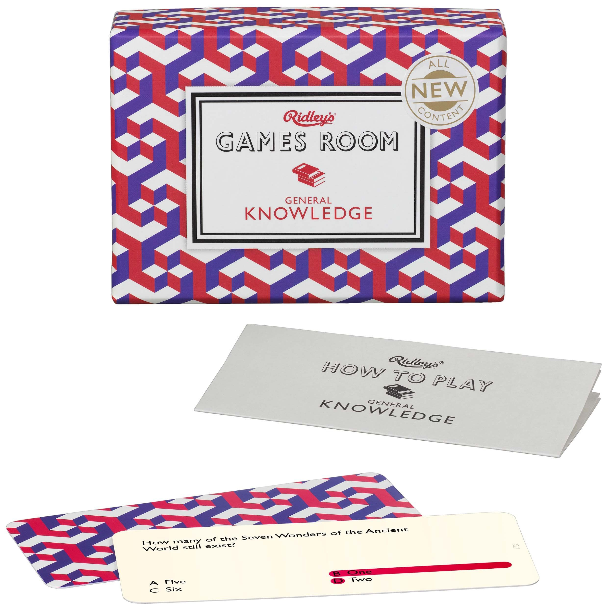 Ridley's Game Room General Knowledge Quiz V2 Card and