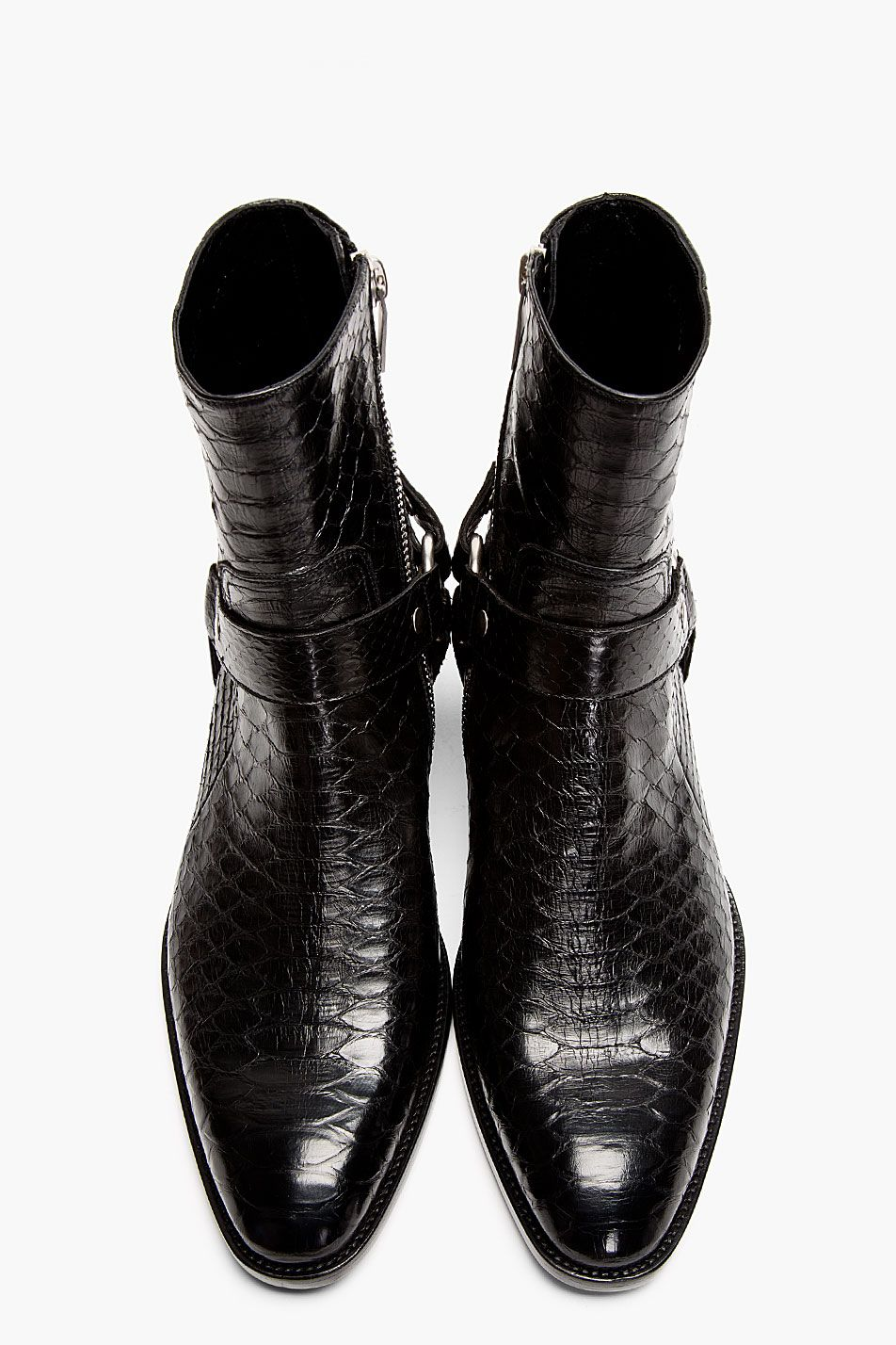 Men s Fashion  good to have - SAINT LAURENT Black Pythonskin Wyatt Harness  Biker Boots 6b3b39ef7e