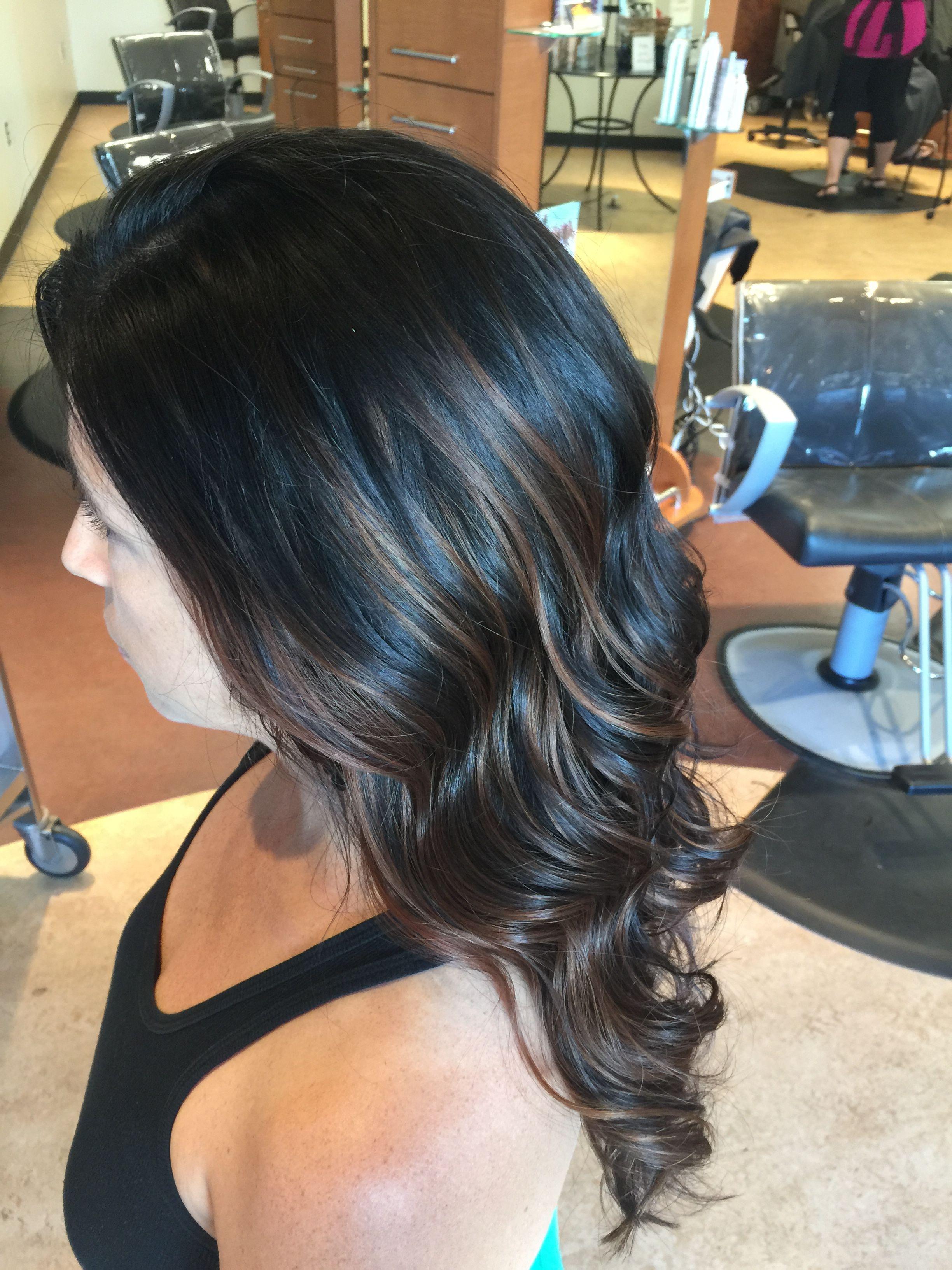 Hair By Jordan Eller Eclektica Salon Kansas City Balayage Chocolatebrown Brownhairwithhighlights Hand Paint Brown Hair With Highlights Hair Hair Painting
