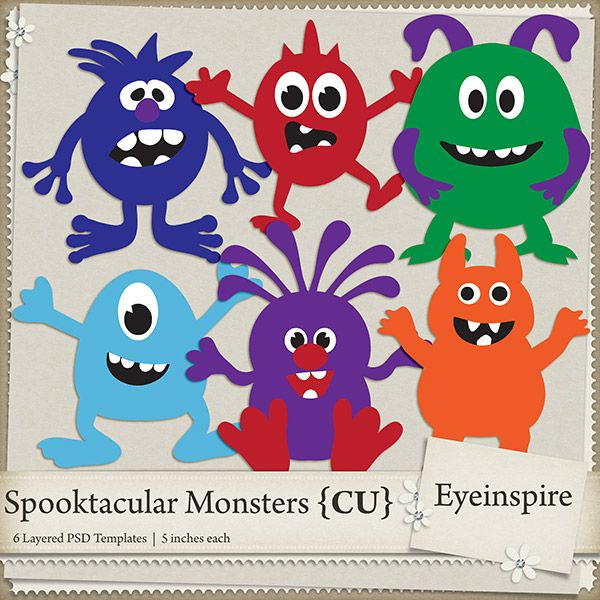 6 adorable, kooky, wacky, Monster Templates all layered and ready - monster template