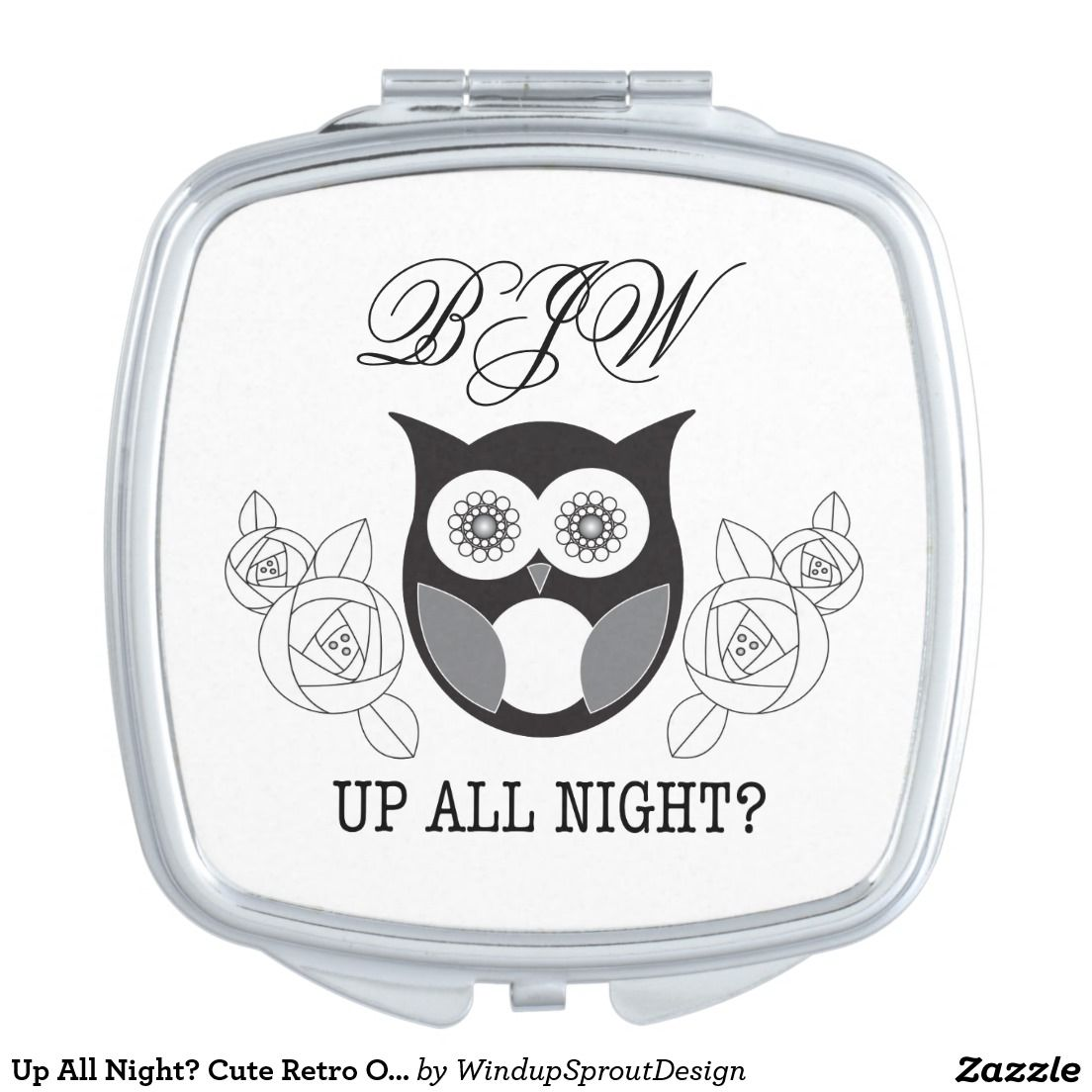 Up All Night? Cute Retro Owl and Rose Monogram Pretty Modern Compact Mirror #makeup #giftforher