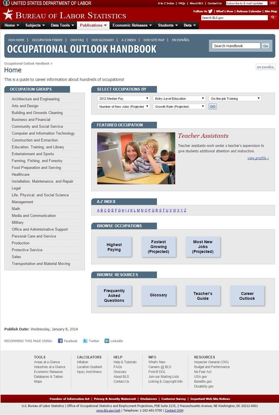 Occupational Outlook Handbook Career information, Career