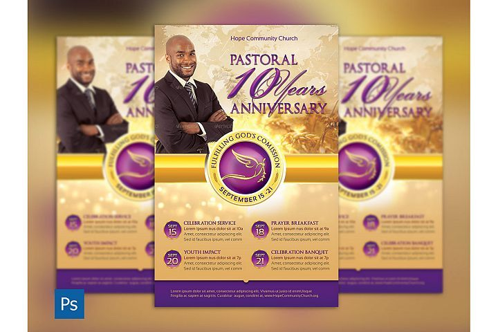 Clergy Anniversary Flyer Template from DesignBundlesnet Church - anniversary flyer