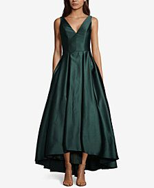 Betsy Amp Adam Satin Fit Amp Flare Gown Green Formal Dresses