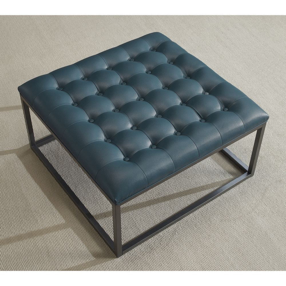 Healy Teal Leather Tufted Ottoman Teal Blue Foam Tufted Ottoman Ottomans And Living Rooms