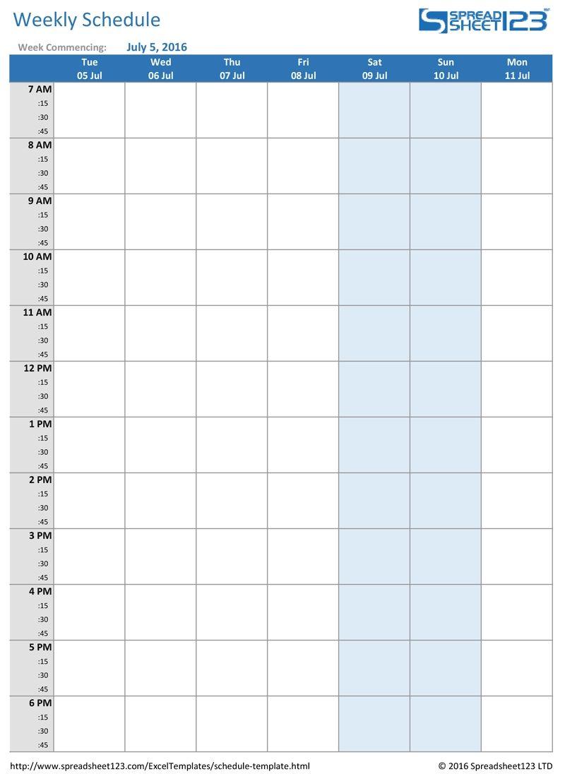 Calendar Week Formula Excel In 2020 Weekly Calendar Printable Weekly Calendar Template Weekly Schedule Template Excel Weekly hourly planner template excel