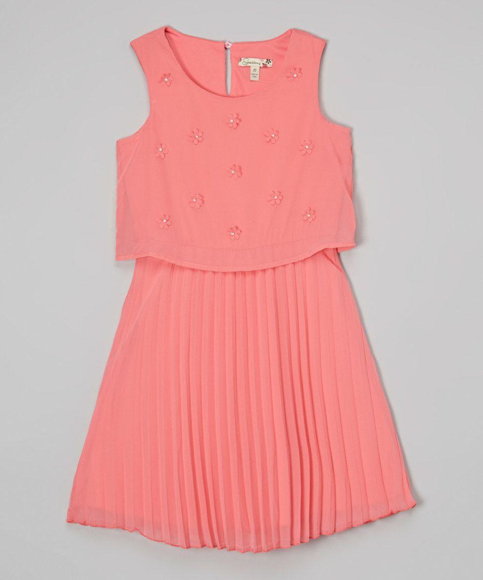 Look at this #zulilyfind! Speechless Peach Beaded Pleated Dress - Girls by Speechless #zulilyfinds