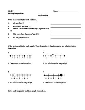 Inequalities Study Guide Study Guide Inequality Number Line
