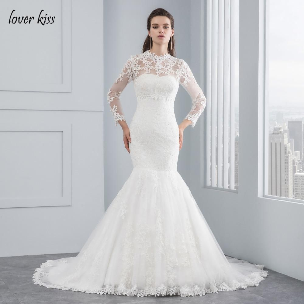 Lover Kiss 2017 Robe De Mariee Elegant Lace Bride Gowns Muslim Lace ...