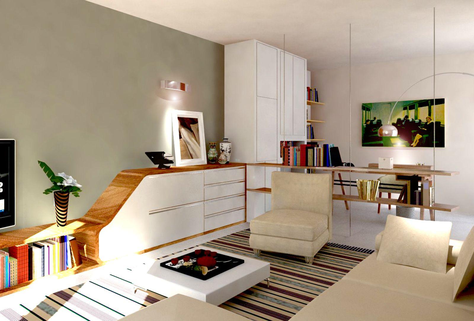 Mensole Sospese Al Soffitto.Ricavare In Soggiorno Una Zona Studio E Tanto Spazio Per Contenere