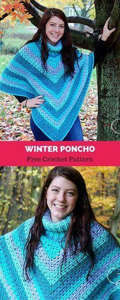 Winter Poncho [ FREE CROCHET PATTERN | crafts | Pinterest | Häkeln ...