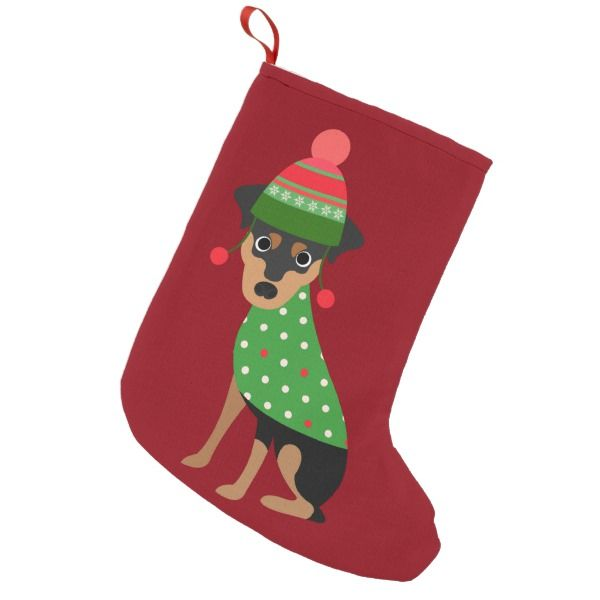 0f221e95a92 Miniature Pinscher Dog Christmas Stocking Style  Velvet Lined Premium Christmas  Stocking Santa Claus is coming to town