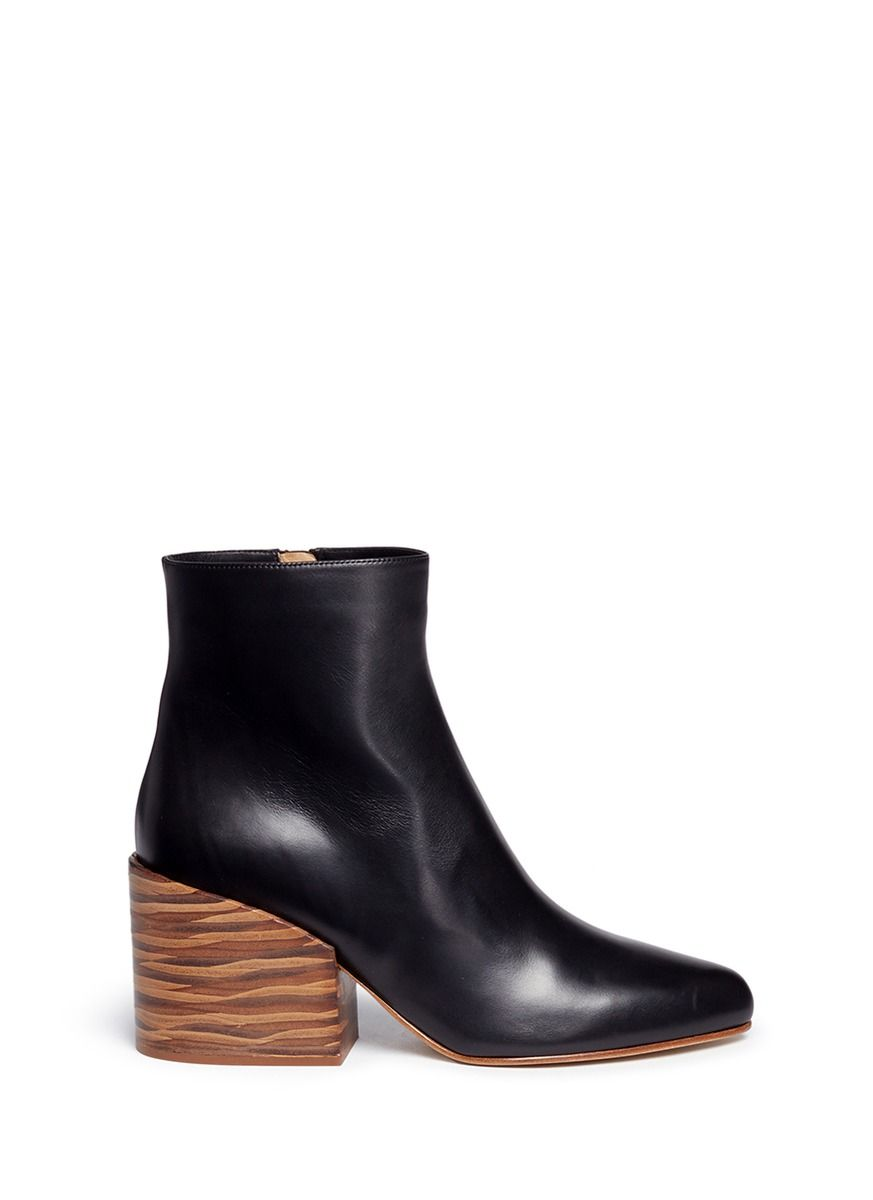 Gabriela Hearst  Tito  streak effect wood heel leather ankle boots ... 141afc74db27