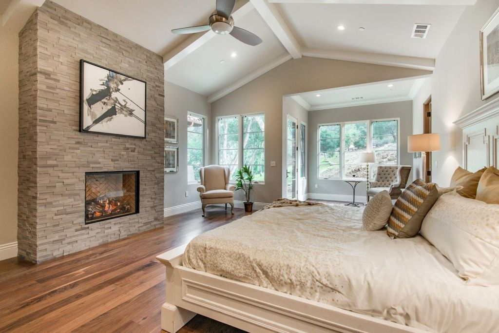 Traditional Master Bedroom With Exposed Beam Crown