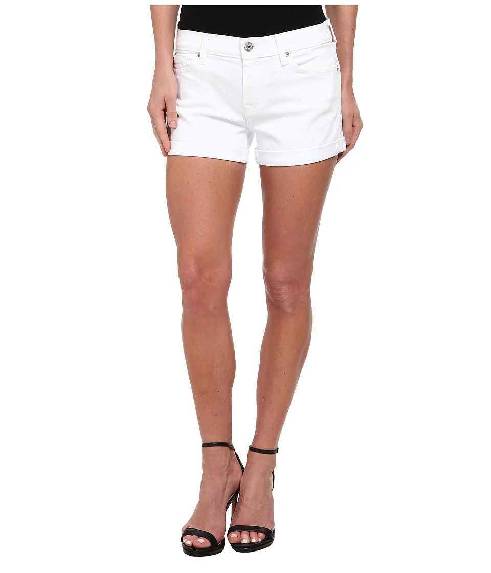 7 For All Mankind Roll Up Short In Clean White Women S Shorts