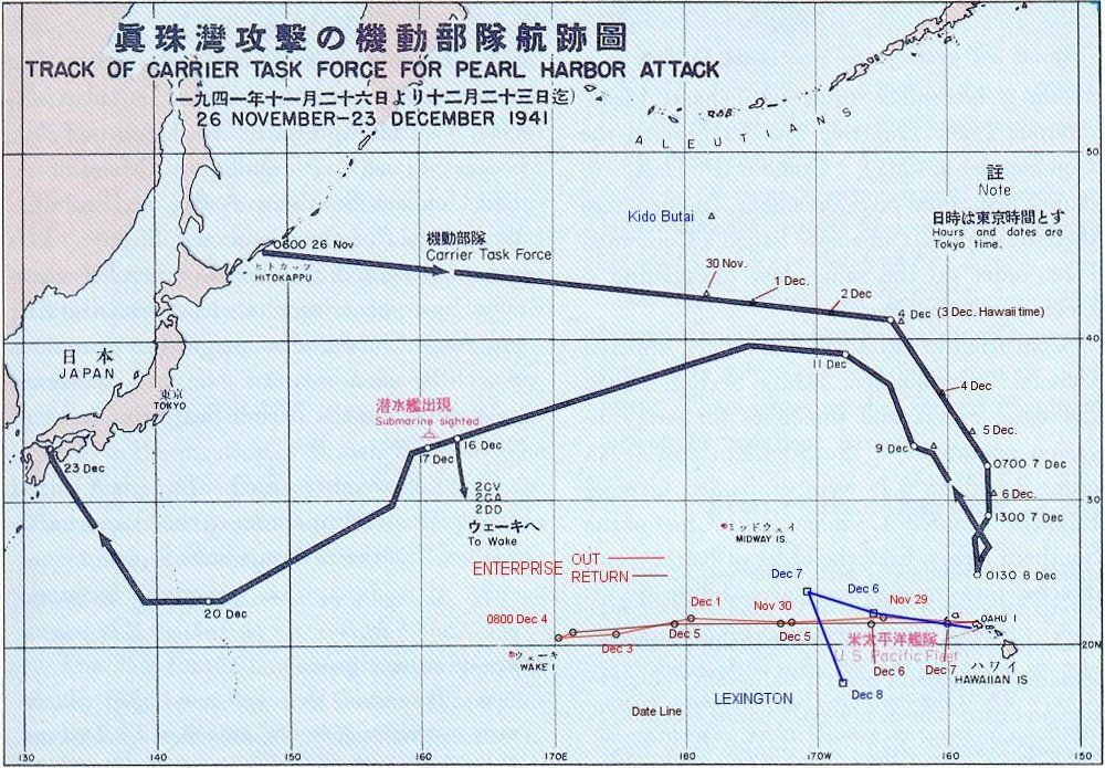 Map Japanese Pearl Harbor attack fleet track chart, 26 Nov-23 Dec - copy map japan world war 2