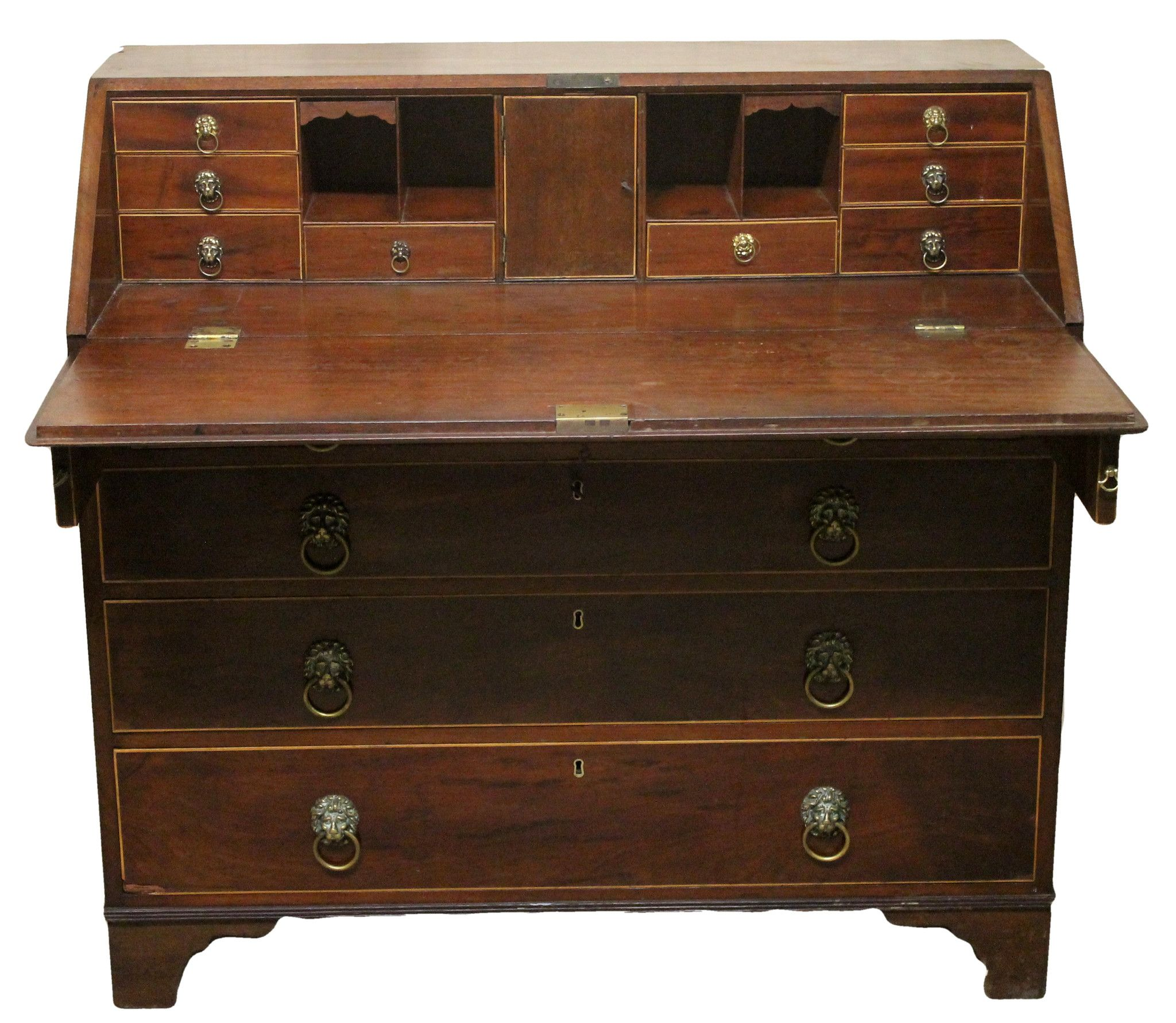Georgian Antique Mahogany Drop Flap Bureau Buy line with Delivery