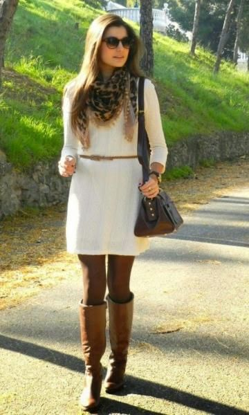 Leopard Scarf With Creak Dress And Carmel Brown Boots Look