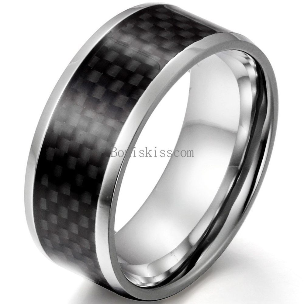 Bishilin 8MM Stainless Steel High Polished Zirconia Inlay Mens Engagement Band Wedding Rings Size 12