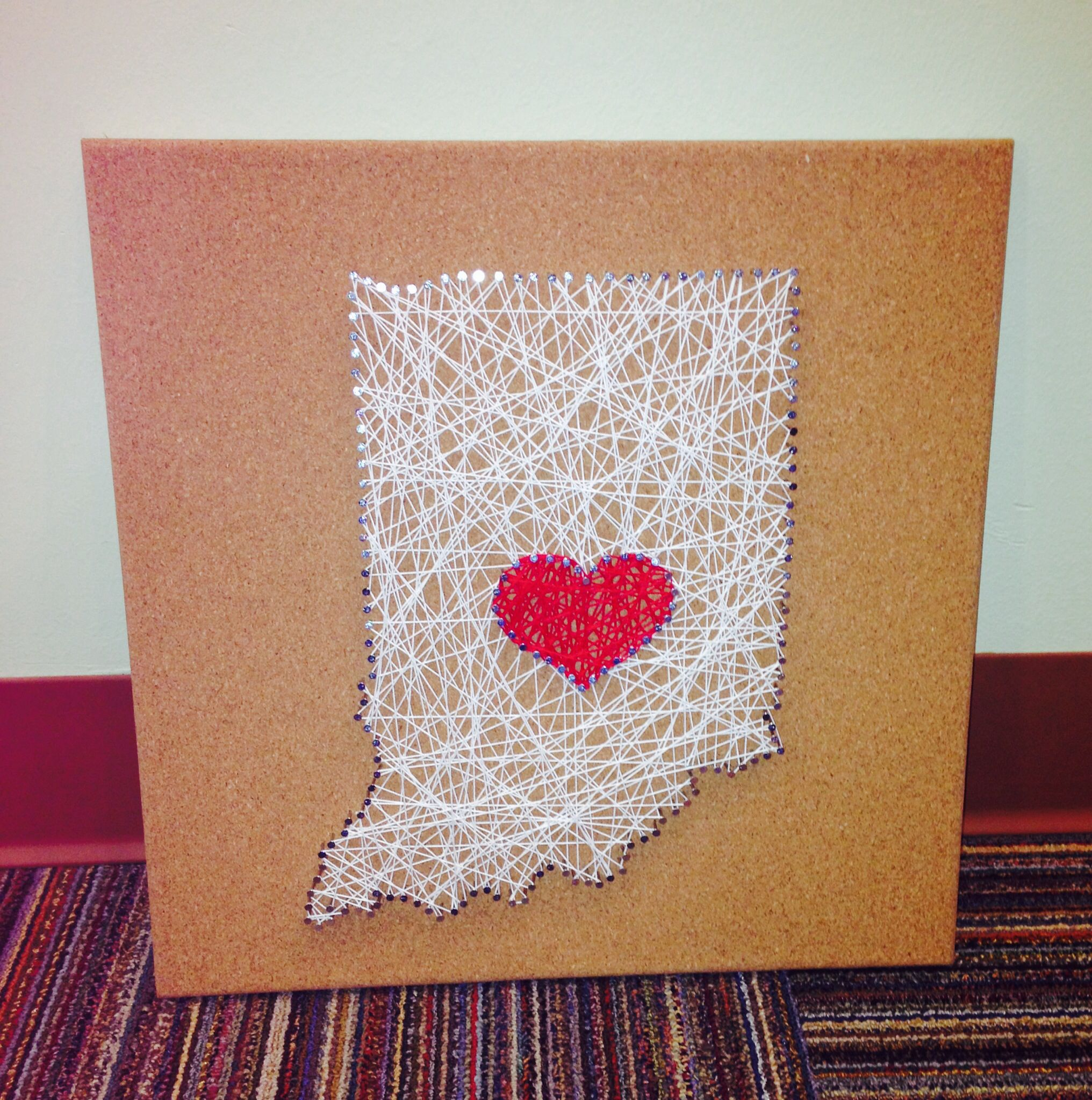 String art on cork board. All you need is cork, string, a template ...