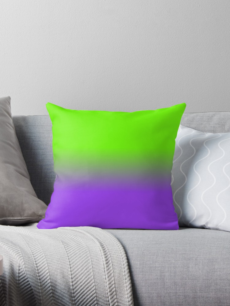Neon Purple And Neon Green Ombre Shade Color Fade Throw Pillow By
