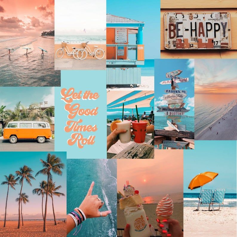 Beach Photo Wall Collage Kit - Digital Download (Set of 45)