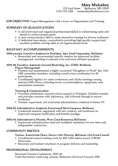 Combination Resume Sample Project Management Business