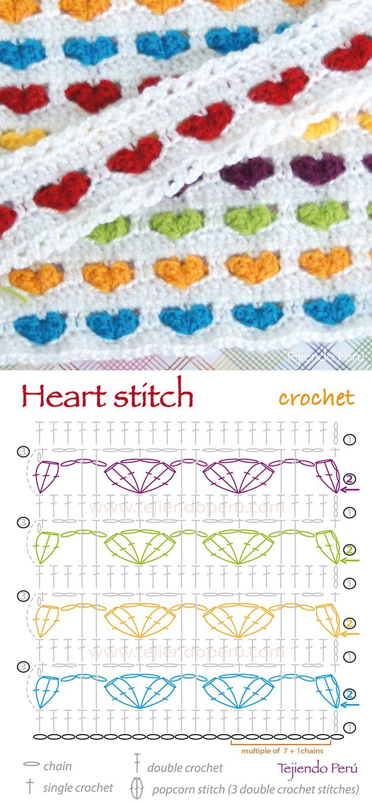 Crochet heart stitch pattern (diagram or chart)!!: | crochet graphs ...