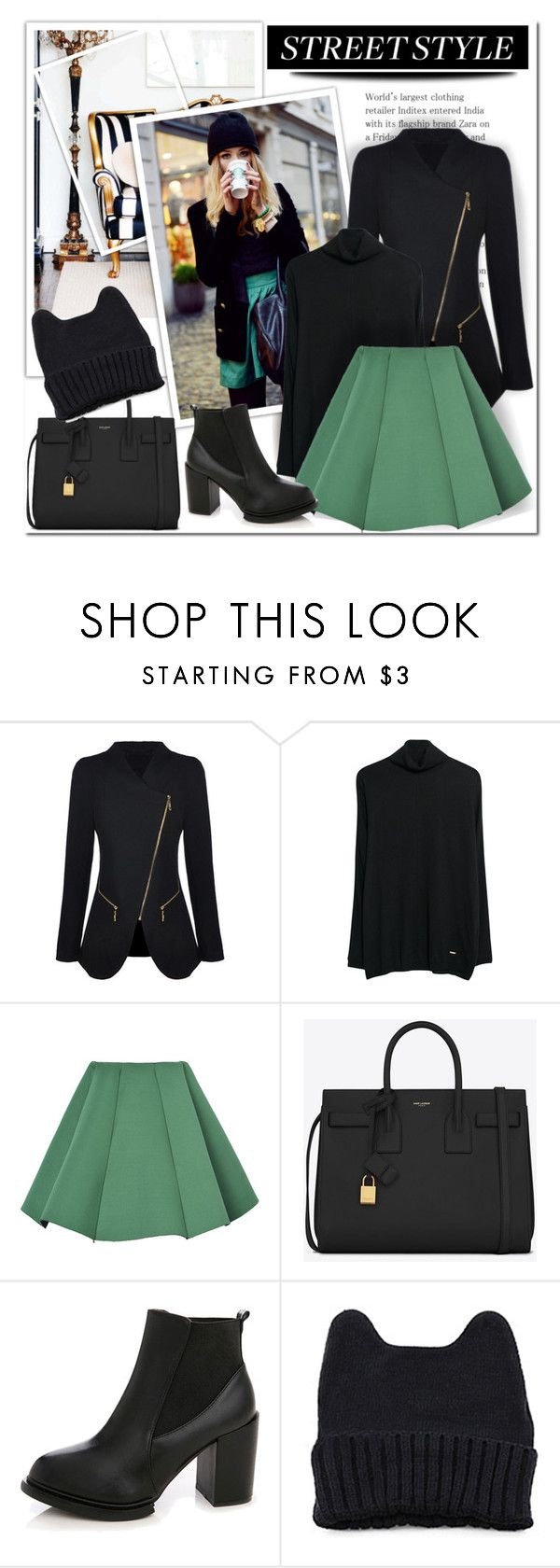 """""""streetstyle"""" by miss-sunshine-25 ❤ liked on Polyvore featuring Violeta by Mango and Yves Saint Laurent"""